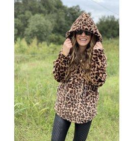 Brown Leopard Faux Fur Pullover