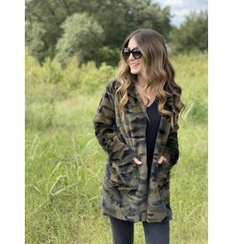 Green Camo Faux Fur Long Jacket