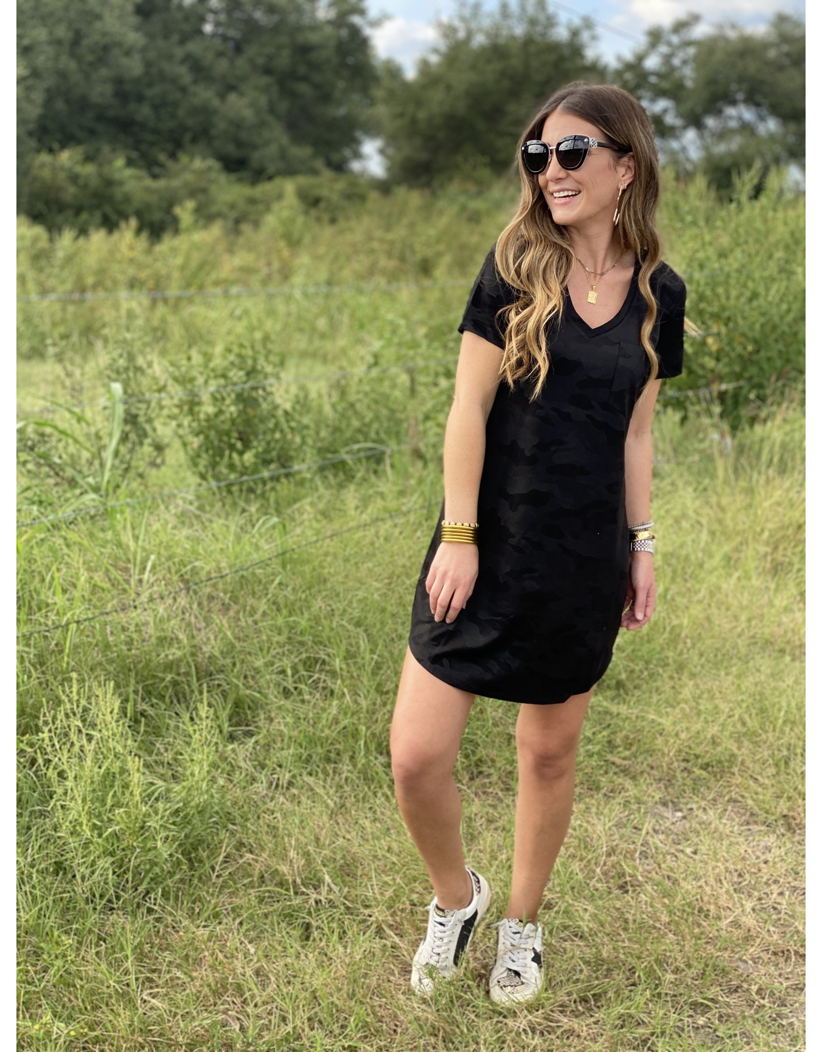 Another Love Cassidy Dress Camo Faux Suede - Black
