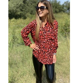 Buddy Love Portia Cherry Bomb Button Down Top
