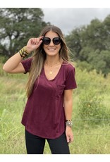 Another Love Phoenix Faux Suede Top in Maroon