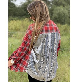 Red Grey Plaid w/Sequin Back Detail