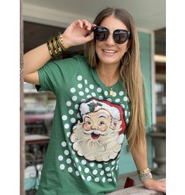Santa Polka Dot Tee in Green