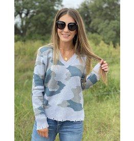 Blue Grey Camo V-Neck Distressed Sweater