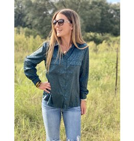 Hunter Green Solid Leopard Print Button Down Top
