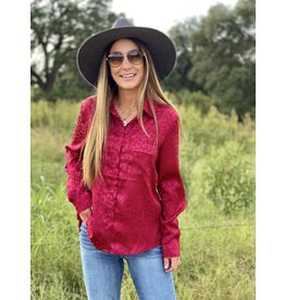 Burgundy Solid Leopard Print Button Down Top