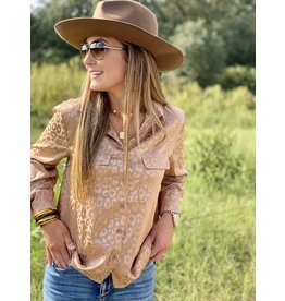 Tan Solid Leopard Print Button Down Top