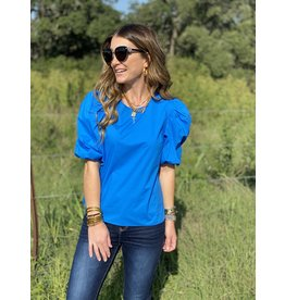 Sky Blue Puff Sleeve Poplin Top