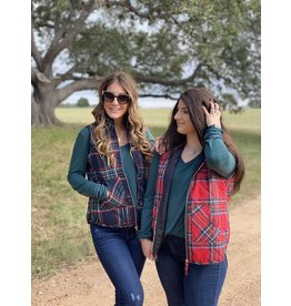Quilted Vest Red Plaid