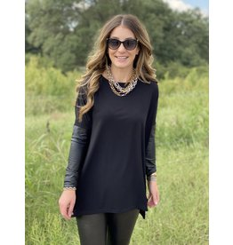 "Black Tunic w/ Faux ""Leather"" Cuff"