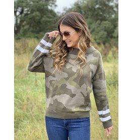 Camo Sweater w/Stripe Sleeve Detail