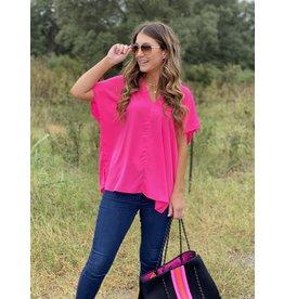 Neon Pink V-Neck Top w/Side Slits