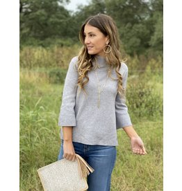 Mock Neck Bell Sleeve Sweater in Charcoal