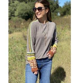 Grey Sweater w/Patterned Sleeve