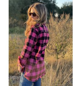 Hot Pink & Black Plaid Flannel Shirt