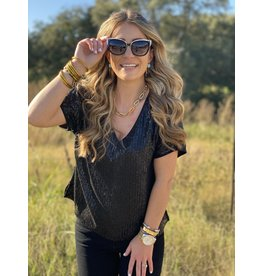 Black Sequin V-Neck Top