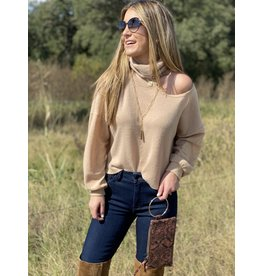 Camel Cut Out TurtleNeck Sweater