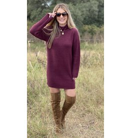 Burgundy 3/4 Sleeve Turtleneck  Sweaterdress