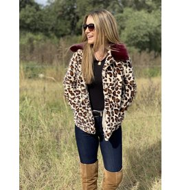 Buddy Love Mariah Leopard Faux Fur Jacket