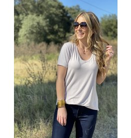 Another Love Valentina VNeck Tee - Taupe/Sparkle