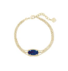 Kendra Scott Elaina Multi Strand Bracelet in Blue Drusy on Gold