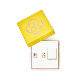 Kendra Scott Gift Set Jack Necklace & Huggies in White Crystal on Gold