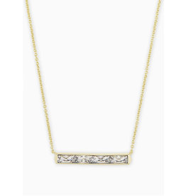 Kendra Scott Jack Short Necklace in White Crystal on Gold