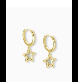 Kendra Scott Jae Star Huggie Ear Gold Dichroic Glass