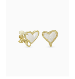 Kendra Scott Ari Heart Clip On Ear Gold Iridscnt Drusy