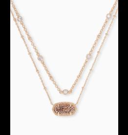 Kendra Scott Elisa Multi Strand Necklace in Rose Gold Drusy on Rose Gold