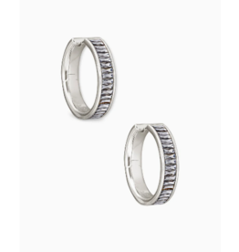 Kendra Scott Jack Hoop Earrings in Gray Crystal on Silver