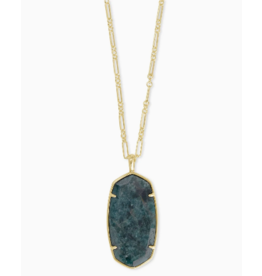 Kendra Scott Faceted Reid Long Necklace in Green Apatite on Gold