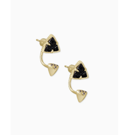 Kendra Scott Perry Stud Earring Black Drusy on Gold