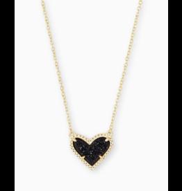 Kendra Scott Ari Heart Short Necklace Black Drusy Gold
