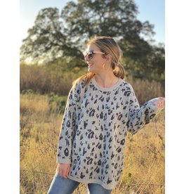 Grey Leopard Sweater Tunic