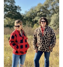 Red Plaid & Leopard Reversible Pullover