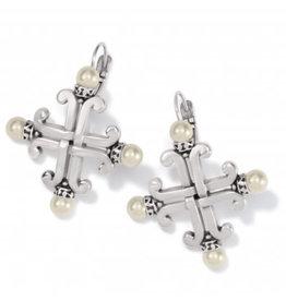 Brighton Taos Pearl Cross Leverback Earrings