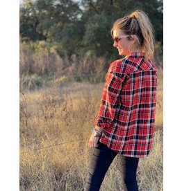 Red & Black Plaid Bleached Pearl Snap Top