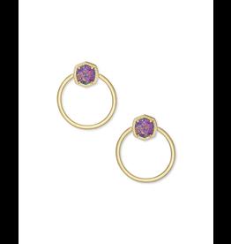 Kendra Scott Gold Davie Hoop in Lavender Opal