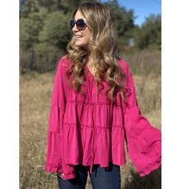 Hot Pink Layered Long Sleeve Top