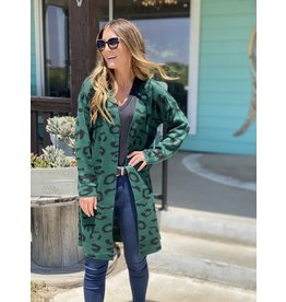 Green & Black Leopard Print Cardigan