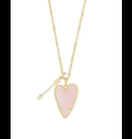 Kendra Scott Ansley Long Necklace Gold Rose Quartz