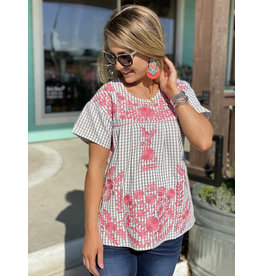 Grey Gingham w/Pink Embroidery Top