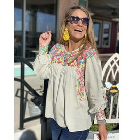 Sage Green w/Multi Embroidered Camila Top