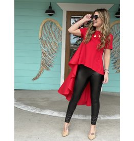 Red Knit SS Top w/Longer Length Back