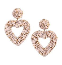 Beaded Heart Earrings Blush