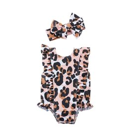 Kids Leopard Swimsuit and Headband