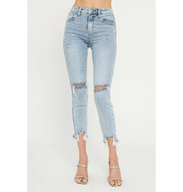 Light Blue Mid Rise Distressed Ankle Skinny Jeans
