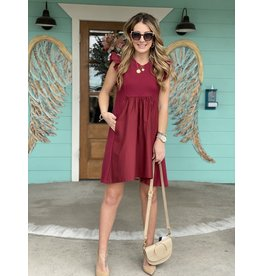 Burgundy Knit Poplin Mixed Dress