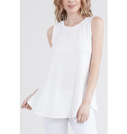 Sleeveless Round Neck Tee in Off White
